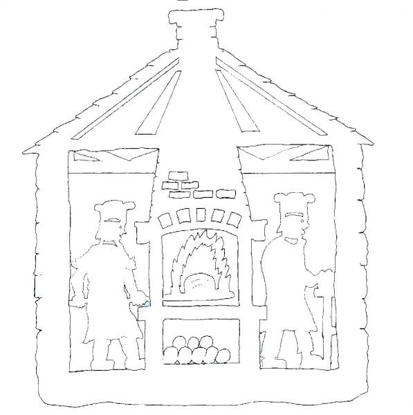 Vorlage doppeltes Fensterbild Weihnachtsbäckerei