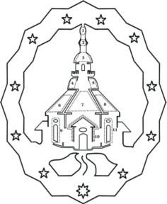 Vorlage Fensterbild Seiffner Kirche doppelt für indirekte Bbel
