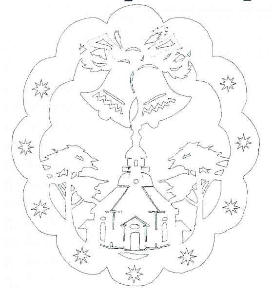 Vorlage doppeltes Fensterbild Seiffner Kirche mit Glocken