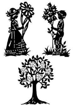 Vorlage für 3 Fensterbilder, 2 Blumenkinder und Baum