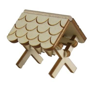 Futterkrippe mini, mit gewelltem Dach