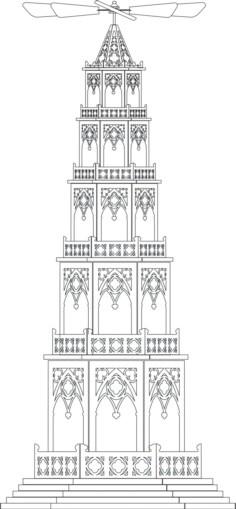Laubsägevorlage Pyramide im gothischen Stil