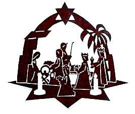 Vorlage Adventsstern mit Krippenfiguren